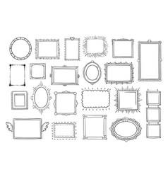 hand drawn frames vintage doodle sketch picture vector image