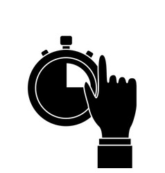 Hand man with clock time management productivity vector