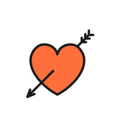 heart with arrow valentine day flat color icon vector image