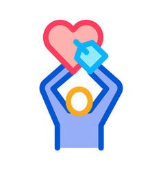 human hold heart icon outline vector image