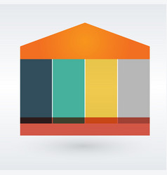 Infographic house out of six pieces on the grey vector