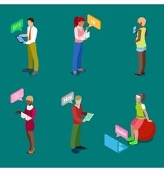 Isometric People Chatting Online vector