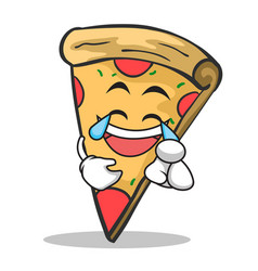 joy face pizza character cartoon vector image