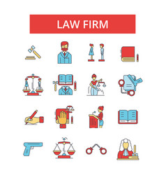 Law firm thin line icons linear vector
