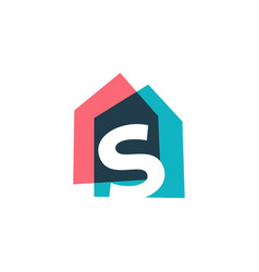 Letter s house home overlapping color logo icon vector