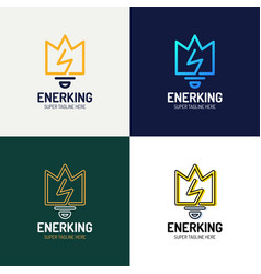 line art crown and bulb royal logo design vector image