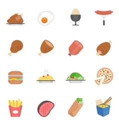 Lines icon set - Western food vector image