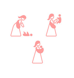 Logo mother with baby in sling sling logotype set vector