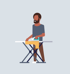 Man ironing clothes african american guy holding vector