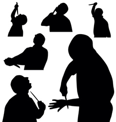 Man with knife silhouette vector