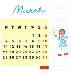 march 2013 vector image vector image