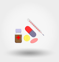 medicine collection set thermometer tablets vector image