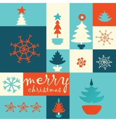 merry christmas tree post card vector image