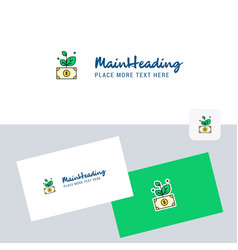 money plant logotype with business card template vector image