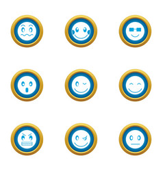 morale icons set flat style vector image