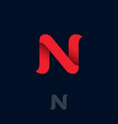 N logo red ribbon origami monogram ui web vector