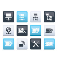 network server and hosting icons vector image