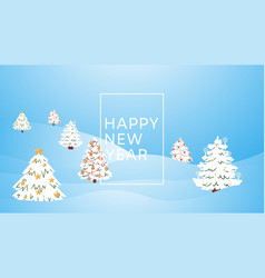 new year and christmas winter forest cartoon vector image