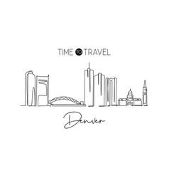 one single line drawing denver city skyline vector image