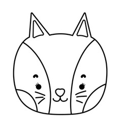 outline adorable cat head nice animal vector image