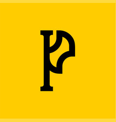 P letter old russian font national folk alphabet vector