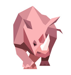 pink rhinoceros in a geometric style vector image