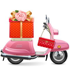 Pink scooter with gift vector