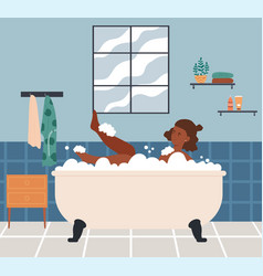 Relaxed female character is taking a bath vector