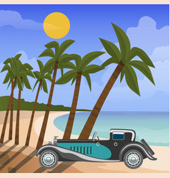 Retro car cabriolet on tropical beach with palm vector