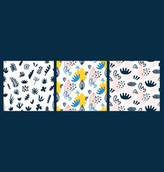 scandinavian seamless patterns set vector image