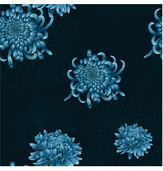Seamless floral pattern with blue chrysanthemums vector