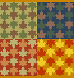 Seamless pattern leafs set in puzzle style vector