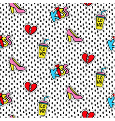 seamless pattern with fashionable patches vector image