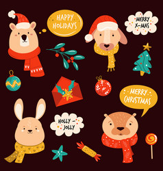 set cute christmas animals rabbit otter bear vector image