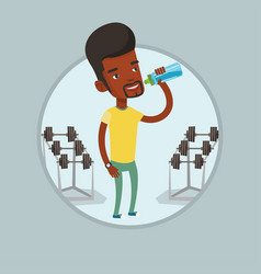 sportive man drinking water vector image