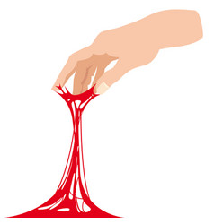 Sticky slime reaching for stuck by the hand vector