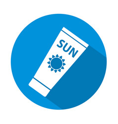 sun care sun protection sunscreen tube flat icon vector image