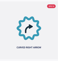 Two color curved right arrow icon from user vector