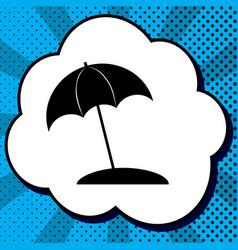 umbrella and sun lounger sign black icon vector image