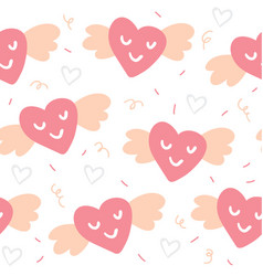 valentines day seamless pattern with cute hearts vector image