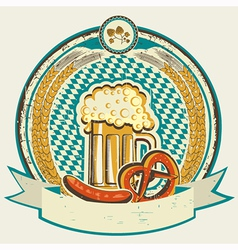 vintage oktoberfest label with beer and food on vector image