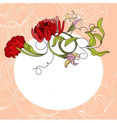 white frame with red flowers vector image