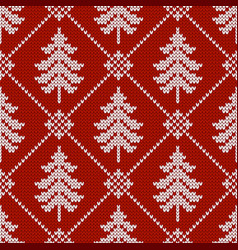 Winter seamless wool texture with christmas trees vector
