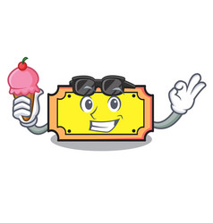 With ice cream ticket character cartoon style vector