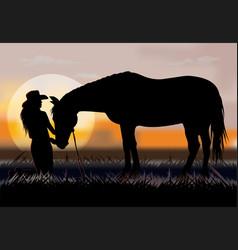woman on prairie vector image