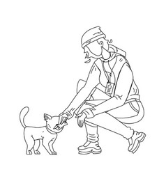Woman volunteer feed homeless cat vector