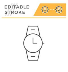 Wrist watch editable stroke line icon vector