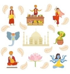 Yoga Taj Mahal And Other Indian Cultural Symbol vector