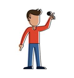young man karaoke celebrating cartoon vector image