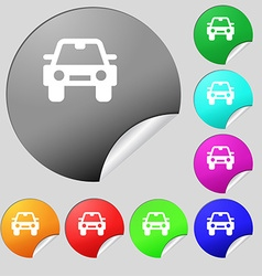 Auto icon sign Set of eight multi-colored round vector image vector image